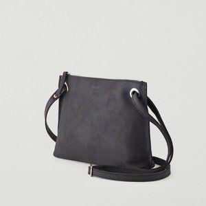 Roots Edie Grey Leather Adjustable Crossbody Bag
